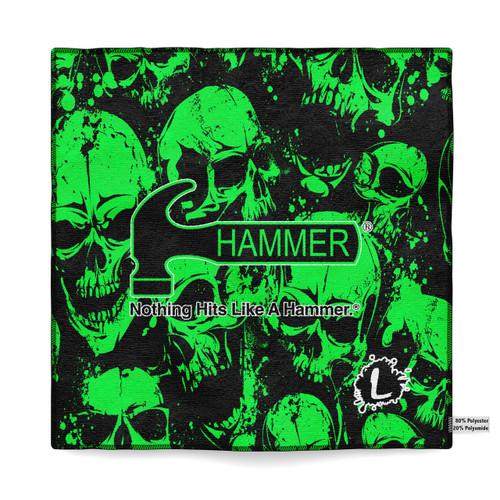 Hammer Green Skulls Sublimated Towel