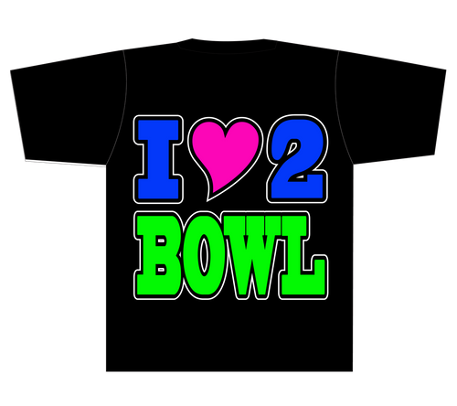 I Heart 2 Bowl T-Shirt - Black