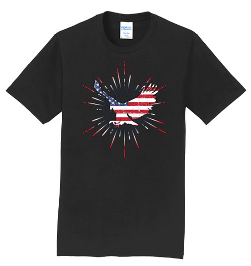 Logo Infusion T-Shirt - Black with Patriotic Eagle Print