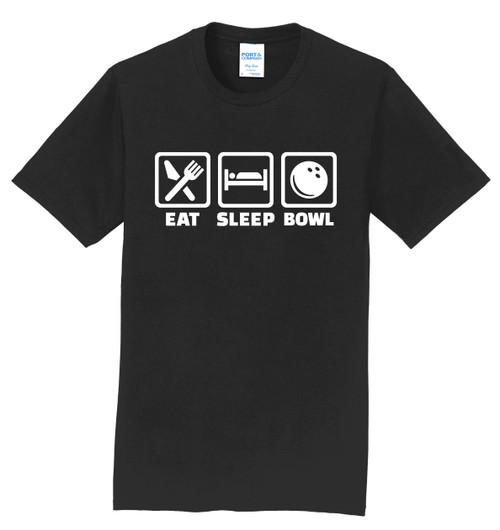 I AM Bowling T-Shirt - Eat Sleep Bowl White Logo - 8 Colors