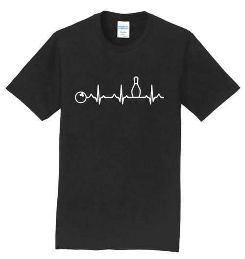 I AM Bowling T-Shirt - Bowling Heartbeat White Logo - 8 Colors