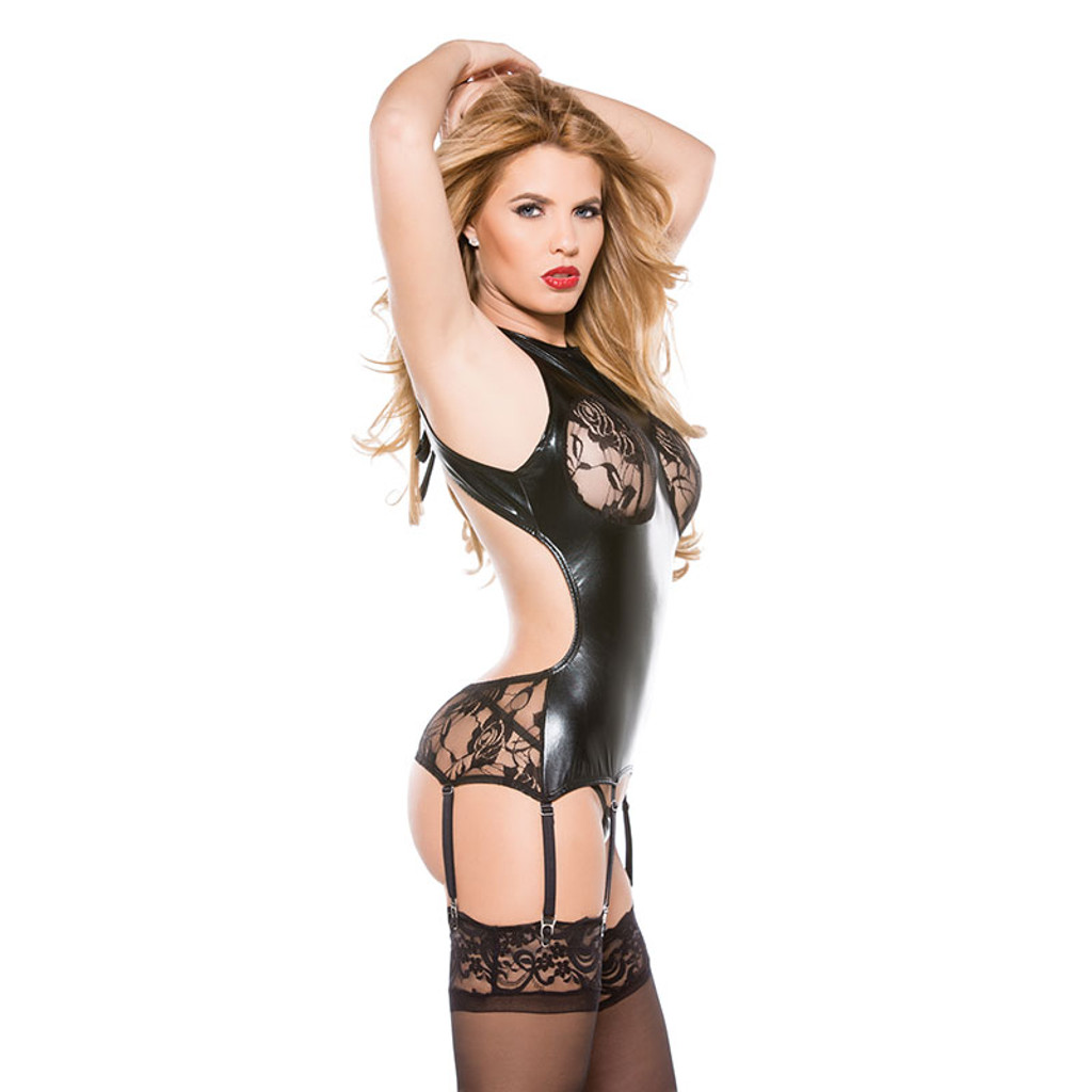 Kitten Lace and Wet Look Corset Top - Side