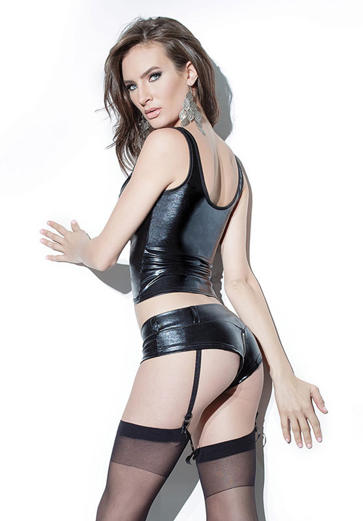 Wet Look Booty Short with Garters - Back