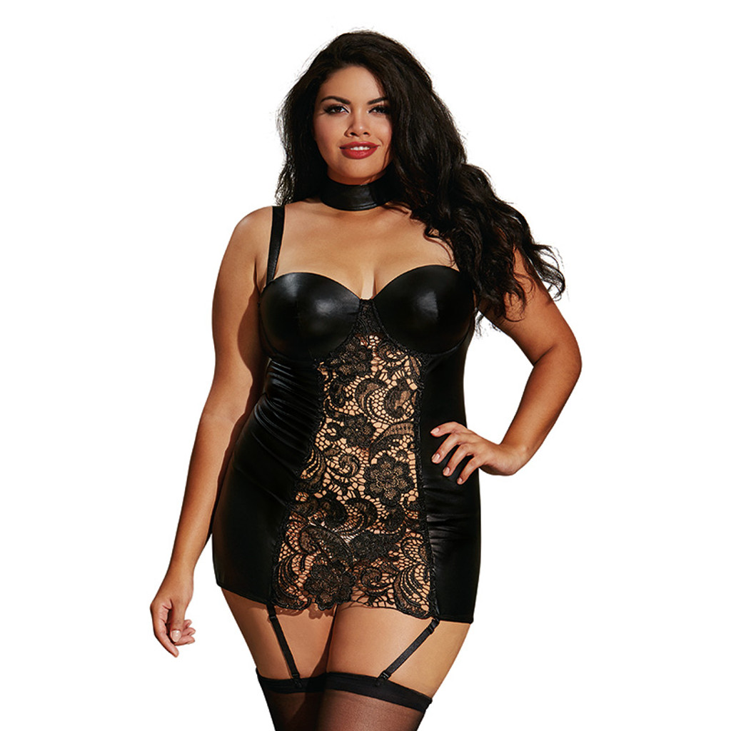 Black Plus Size Faux-Leather and Lace Garter Slip - Front