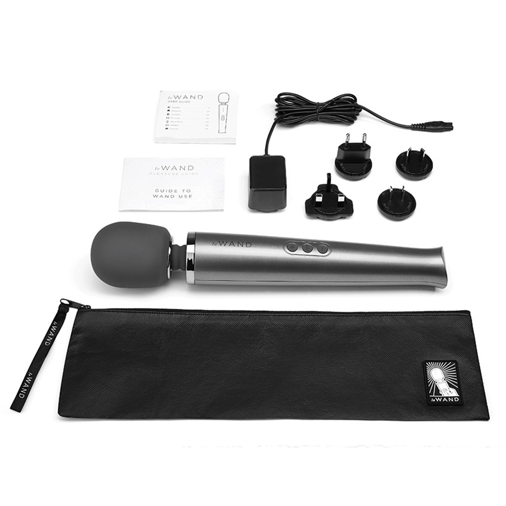 Grey Le Wand Rechargeable 10-Speed Wand Massager - Contents