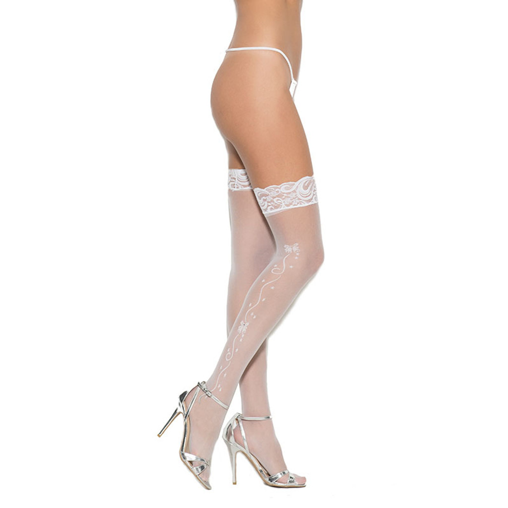 Cirilla's White Wedding Bells Sheer Thigh High with Lace Top - Front