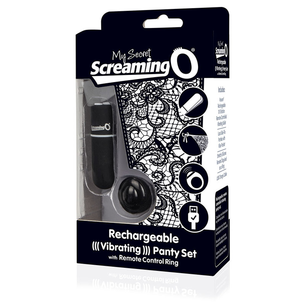 Black My Secret Screaming O Charged Remote Control Panty Vibe - Packaging Front