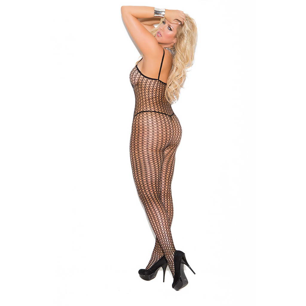 Elegant Moments Plus Size Seamless Crochet Bodystocking with Open Crotch - Back