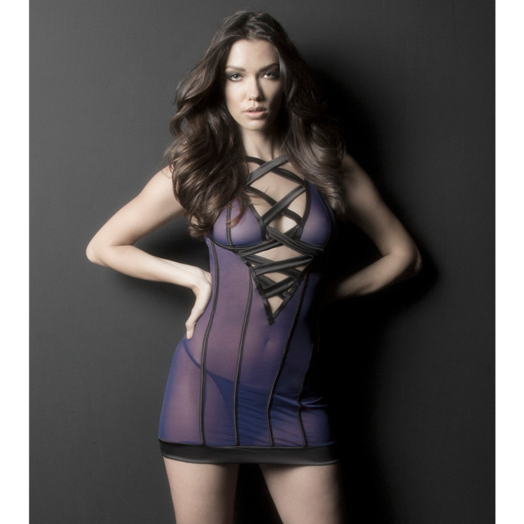 Oh La La Cheri INES Sheer Plunge Neckline Babydoll with Oversized Straps and G-String