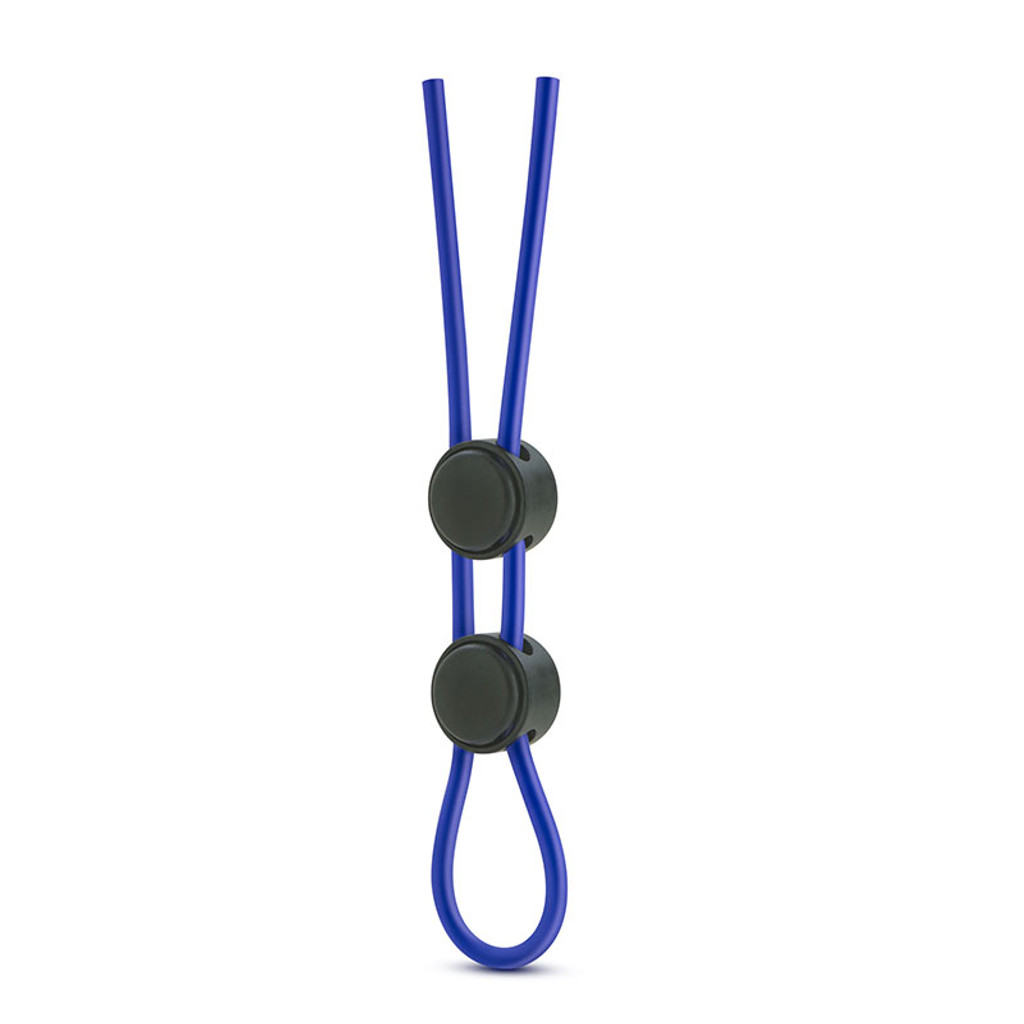 Blue Blush Novelties Stay Hard Silicone Double Loop Lasso Cock Ring - Front