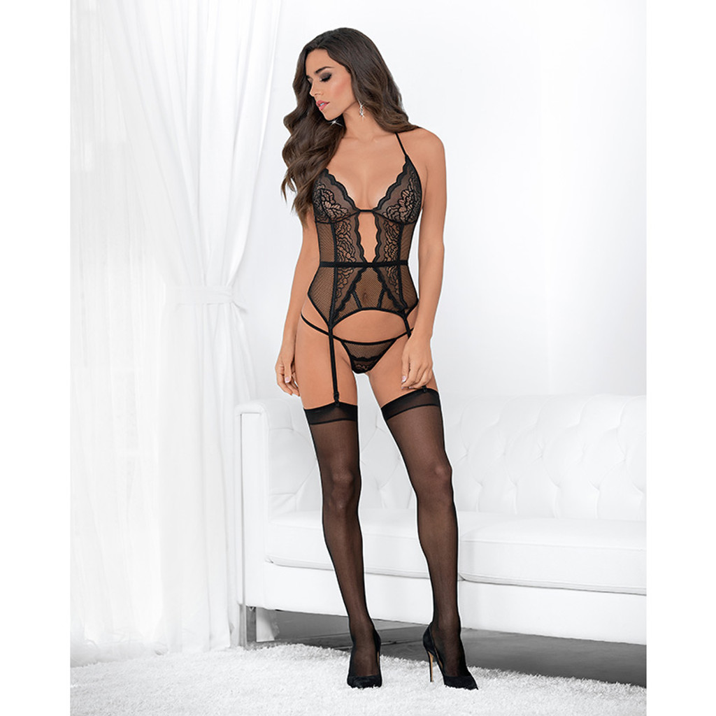 Escanté Tempting Bustier, Panty and Stockings Set - Front Full