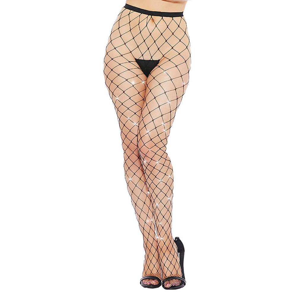 Black Diamond Large Fishnet and Rhinestone Pantyhose - Front