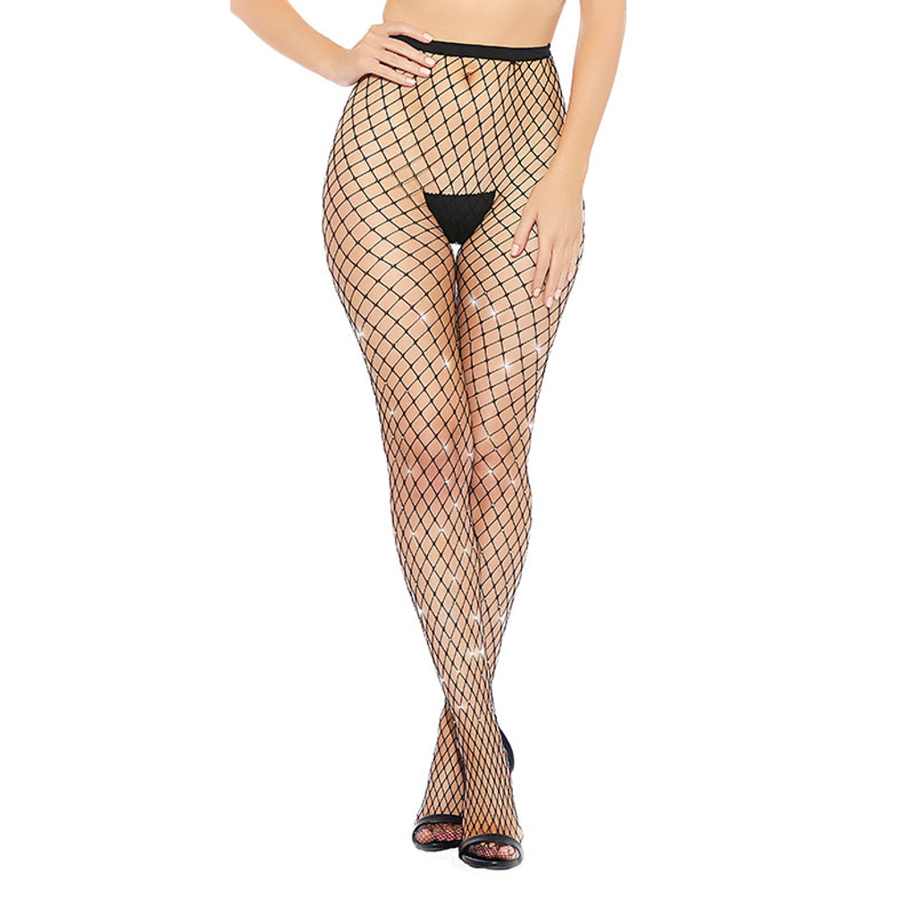 Black Diamond Medium Fishnet and Rhinestone Pantyhose - Front