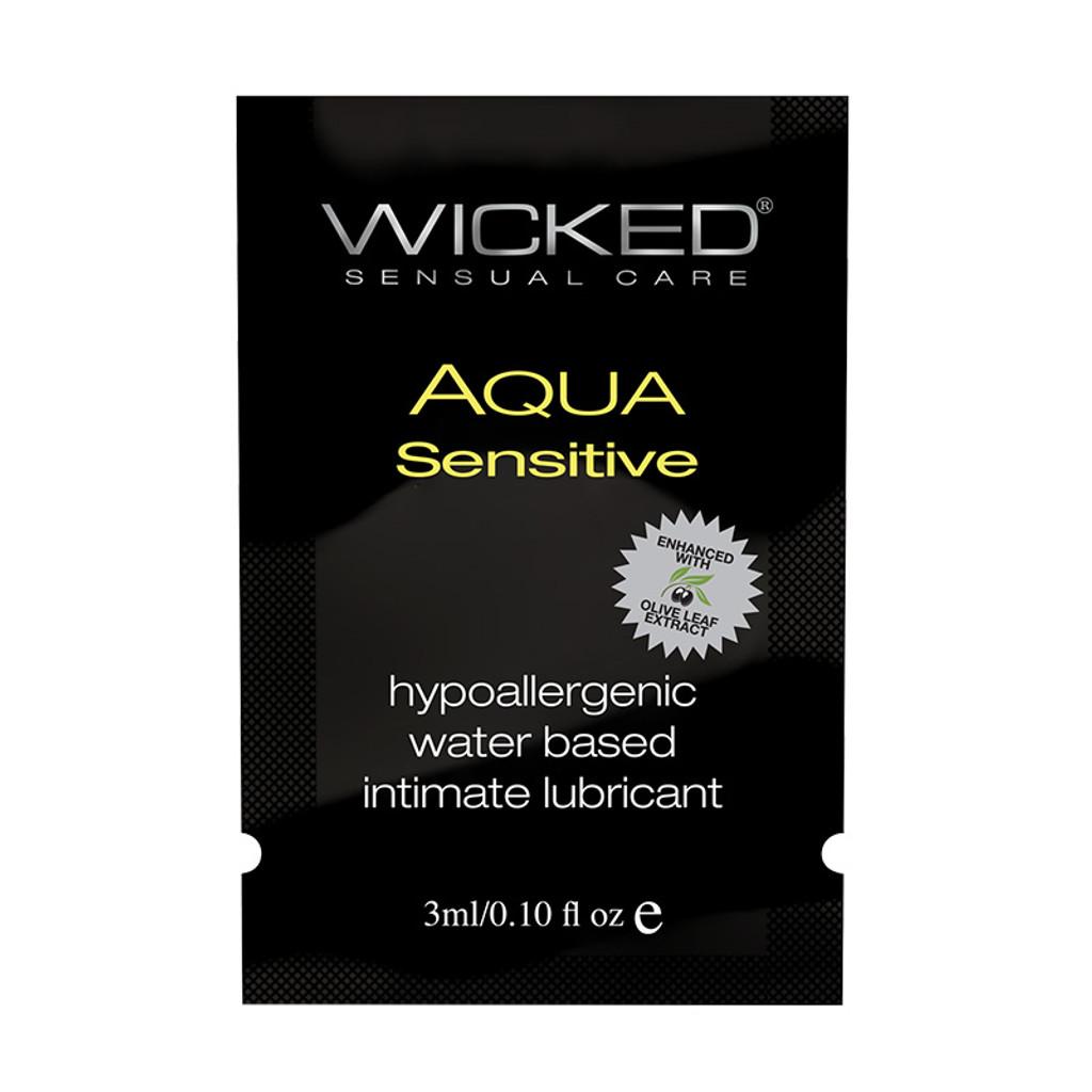 Wicked Aqua Sensitive Lubricant Sample - Front