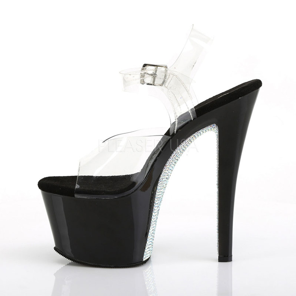 "Pleaser Shoes 7"" Heel Platform Ankle Strap Sandal with Rhinestones - Left"