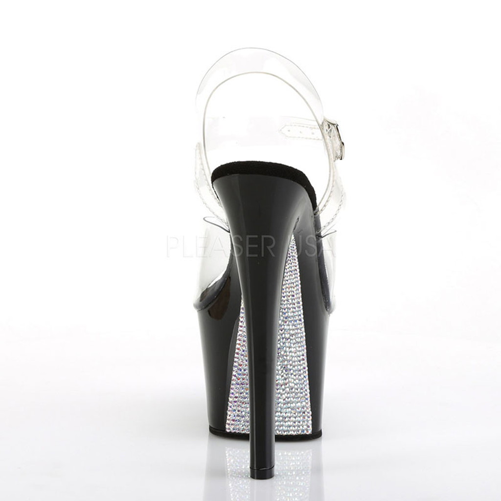 "Pleaser Shoes 7"" Heel Platform Ankle Strap Sandal with Rhinestones - Back"