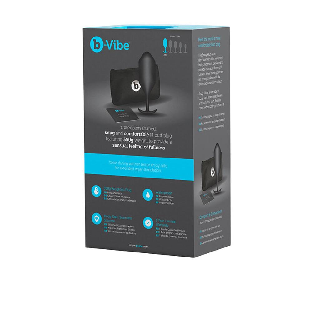 Black b-Vibe Snug Plug 5 Weighted Silicone Plug - Package Back