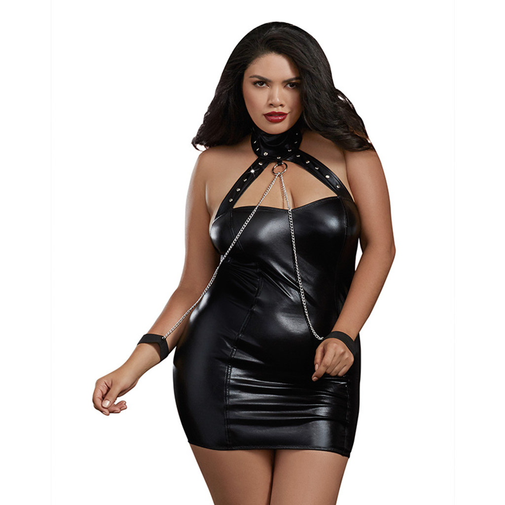 Plus Size Dreamgirl Faux Leather Knit Collared Chemise - Front