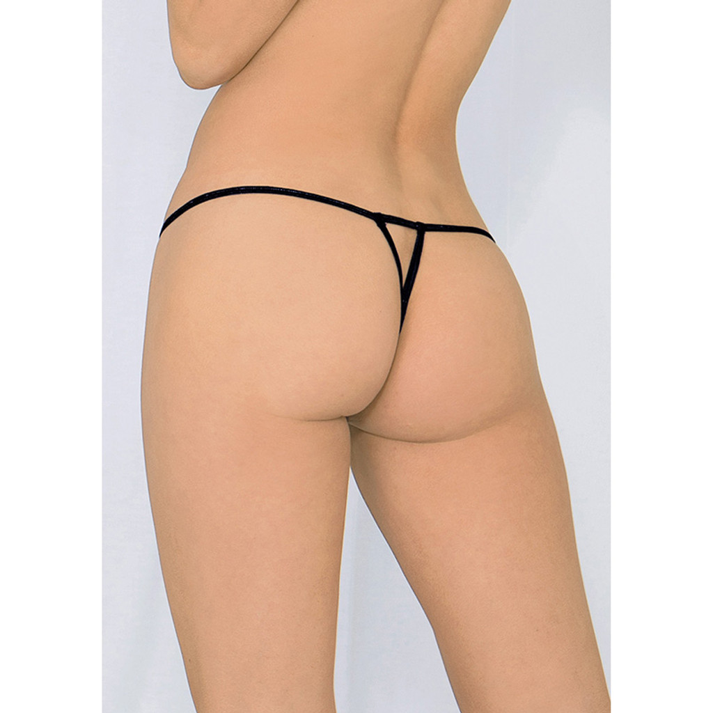 Black Escanté Crotchless Heartbreaker Thong Panty - Back