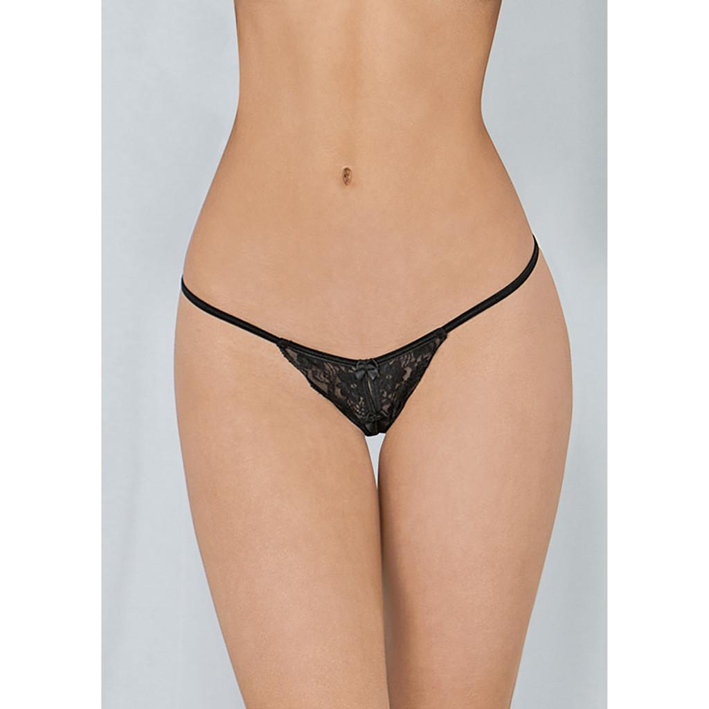 Black Escanté Crotchless Heartbreaker Thong Panty - Front