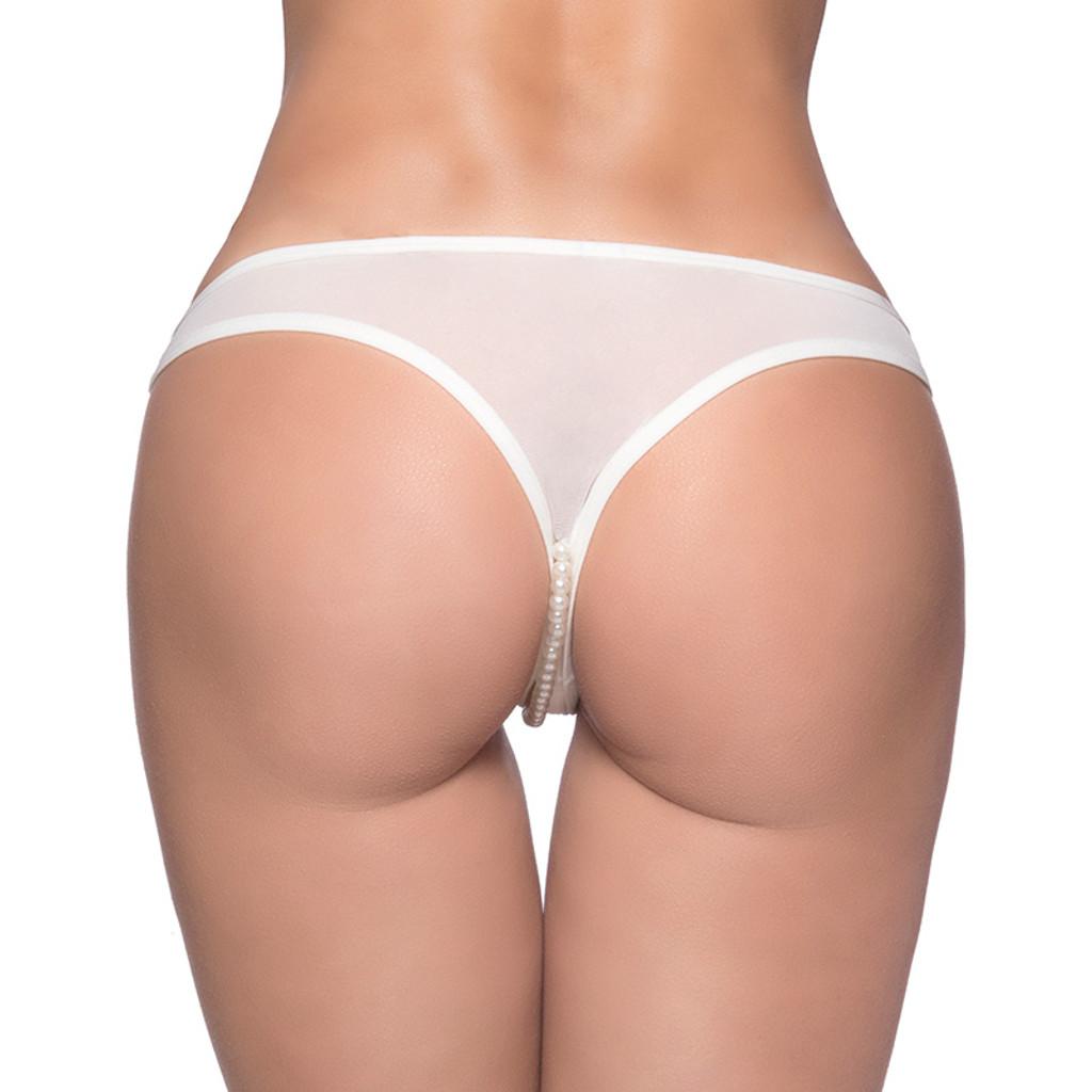 White Oh La La Cheri Crotchless Paradise Pearl Thong - Back