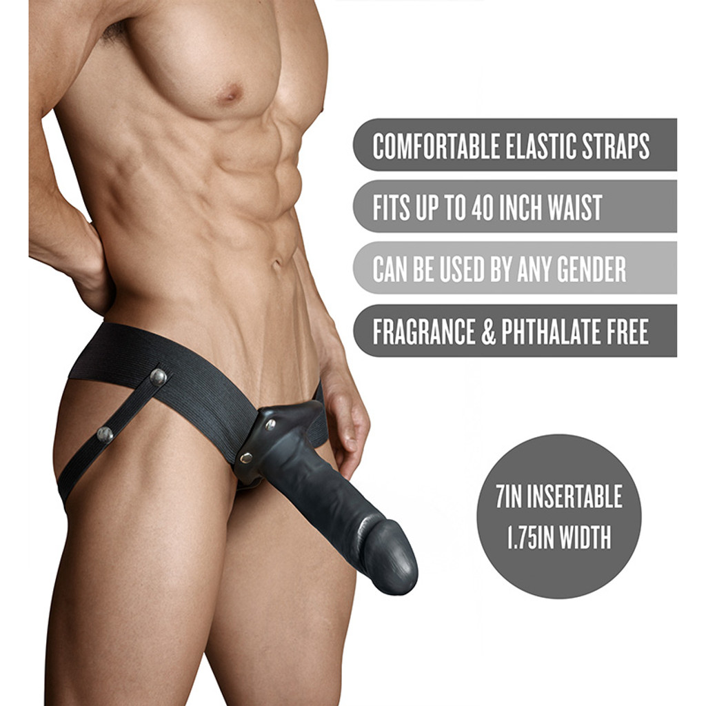 """Black Dr. Skin 7"""" Hollow Strap On - Features"""