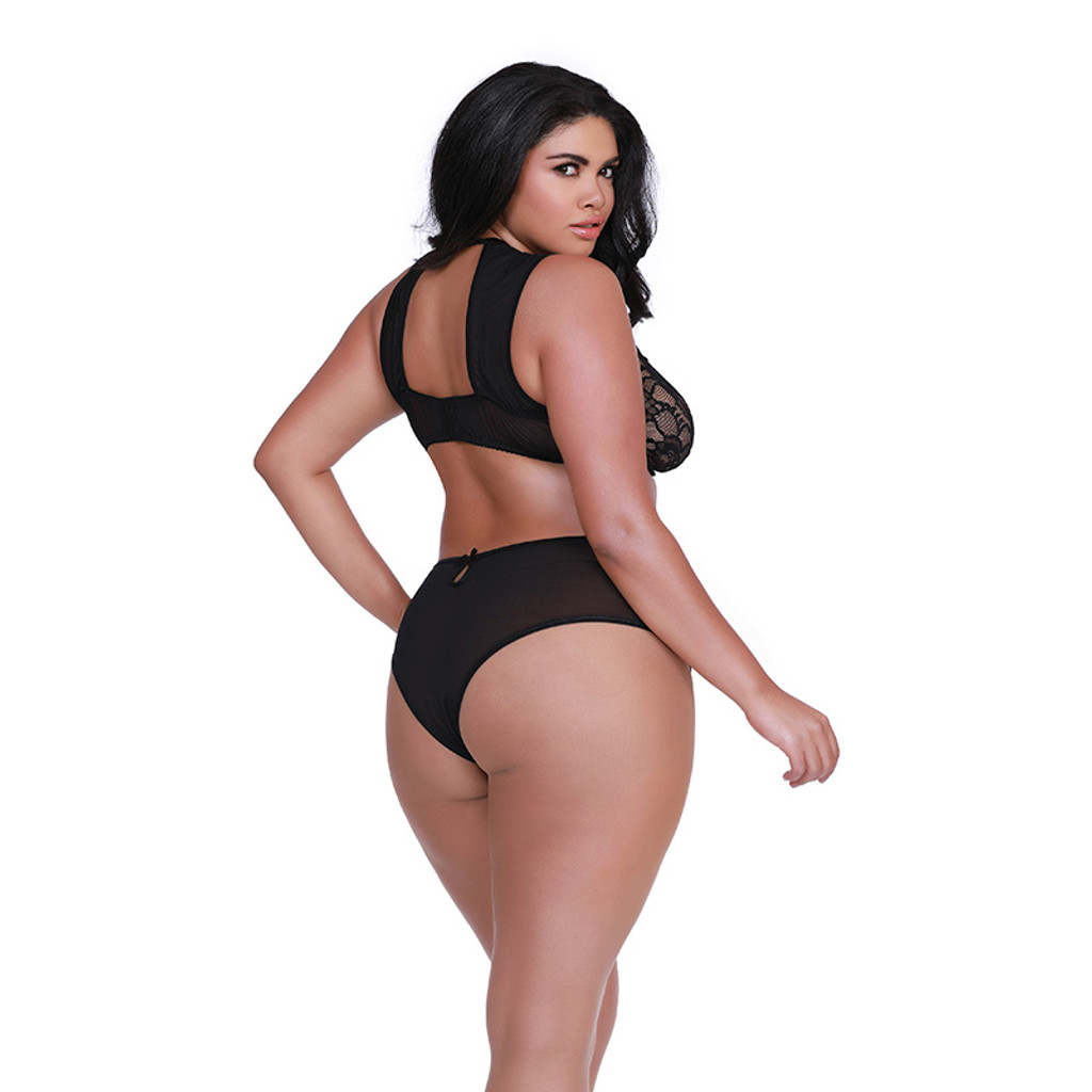 Black Dreamgirl Plus Size Women's Stretch Lace High Neck Bra and Panty Set - Back