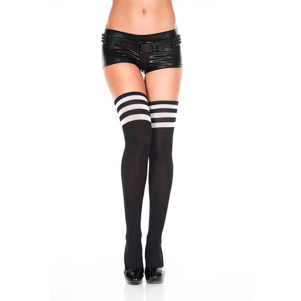 Black/ White Music Legs Athletic Striped Thigh Highs