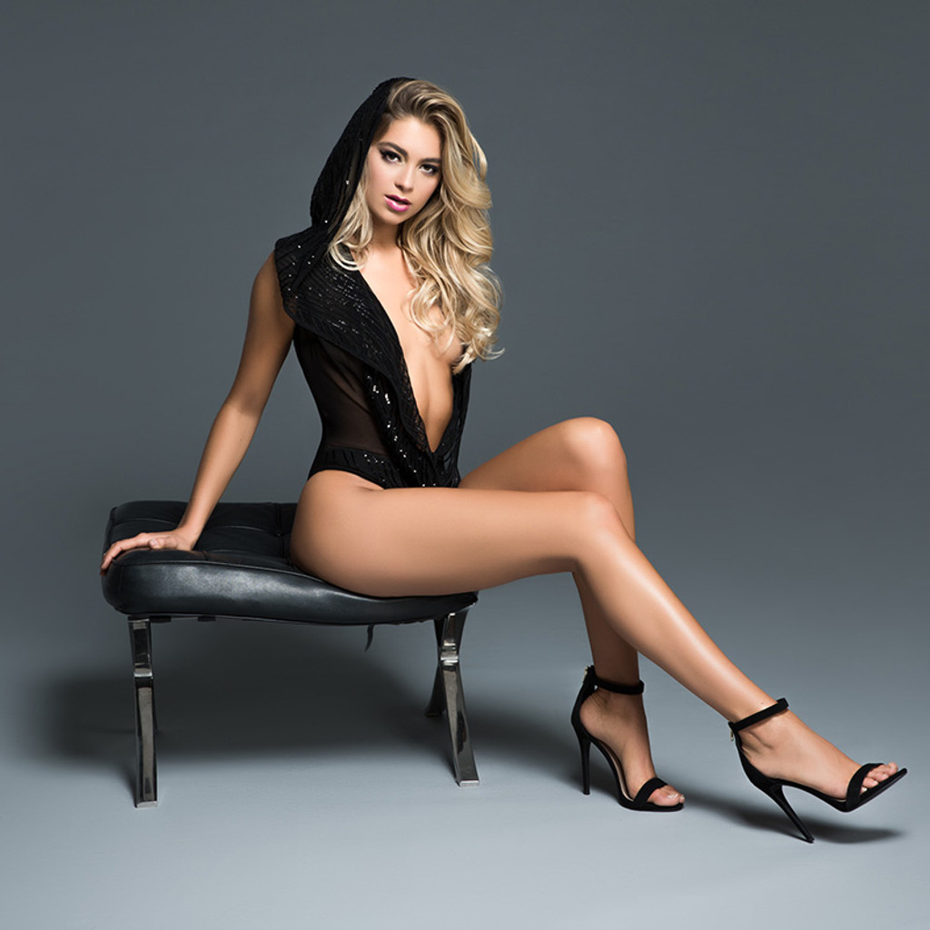 Adore by Allure Lingerie Dare to Imagine Sequins Bodysuit with Hoodie - Lifestyle