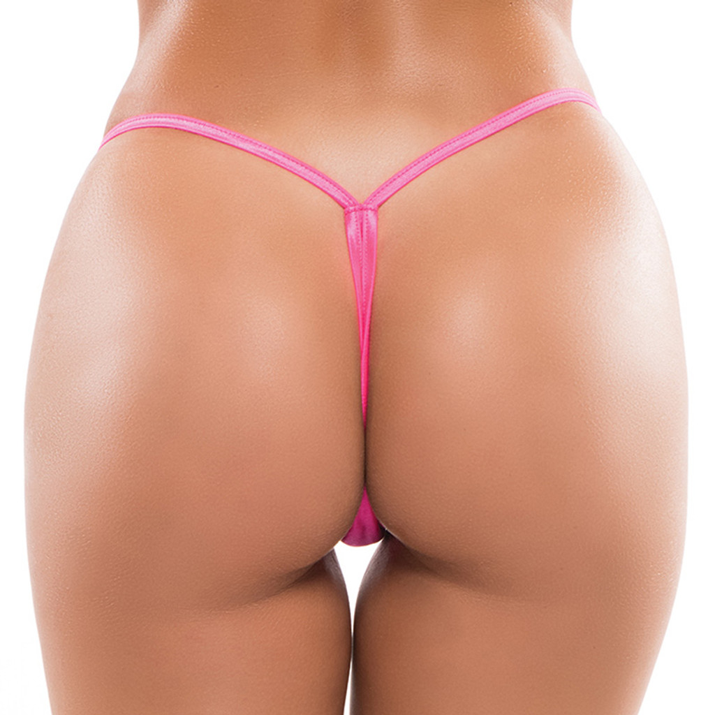 Hot Pink Plus Size Allure Lingerie Low Rise Thong - Back