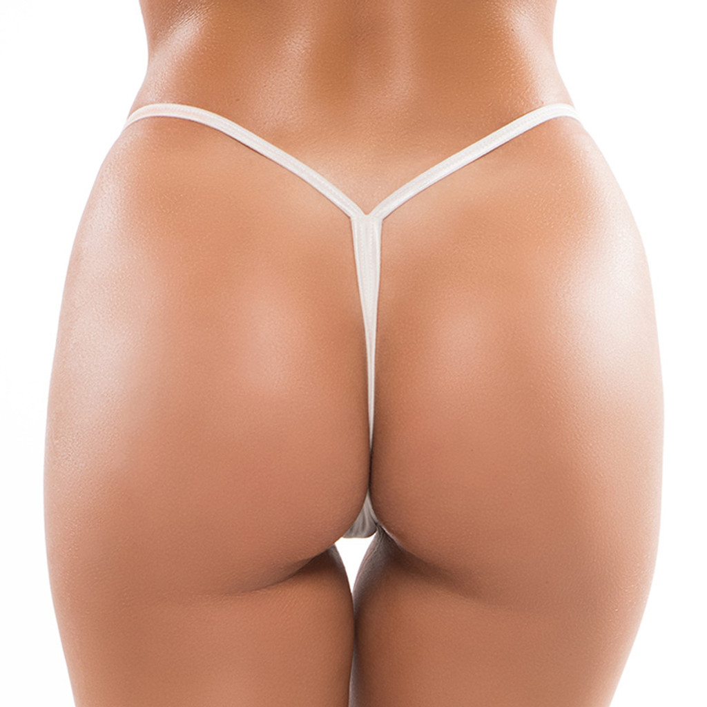 White Plus Size Allure Lingerie Low Rise Thong - Back