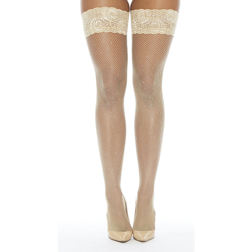 Nude Fishnet Stay-up Thigh Highs with Rhinestones - Front