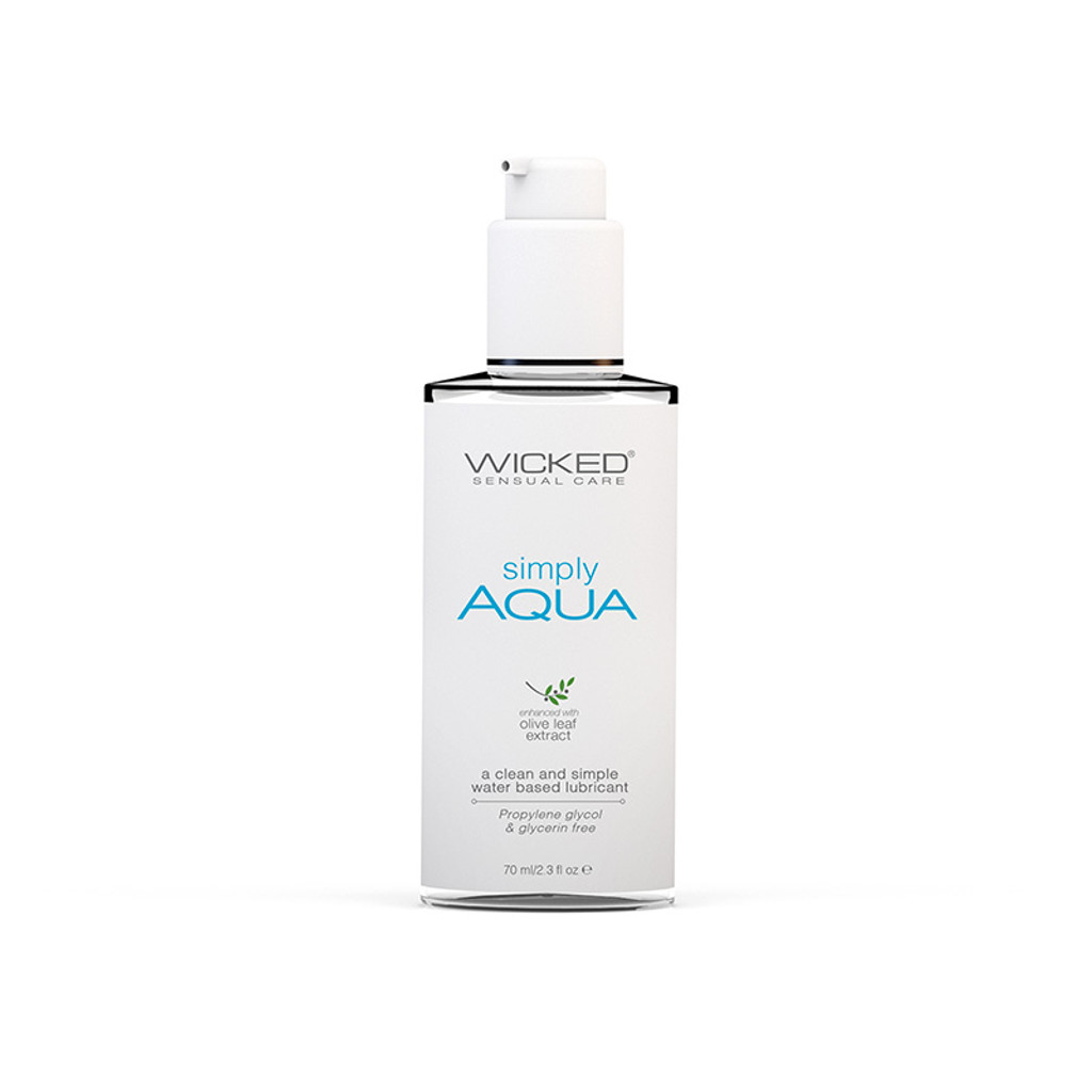Wicked Sensual Care Simply Aqua Water Based Lubricant 2.3 oz. - Front