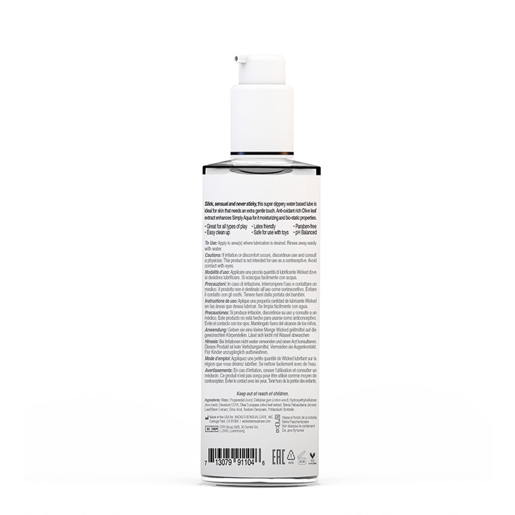 Wicked Sensual Care Simply Aqua Water Based Lubricant 4 oz. - Back
