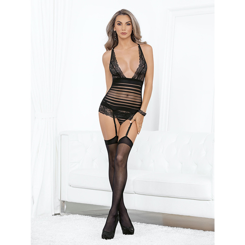 Black Escante Lace and Stripped Bustier with Thigh Highs - Front