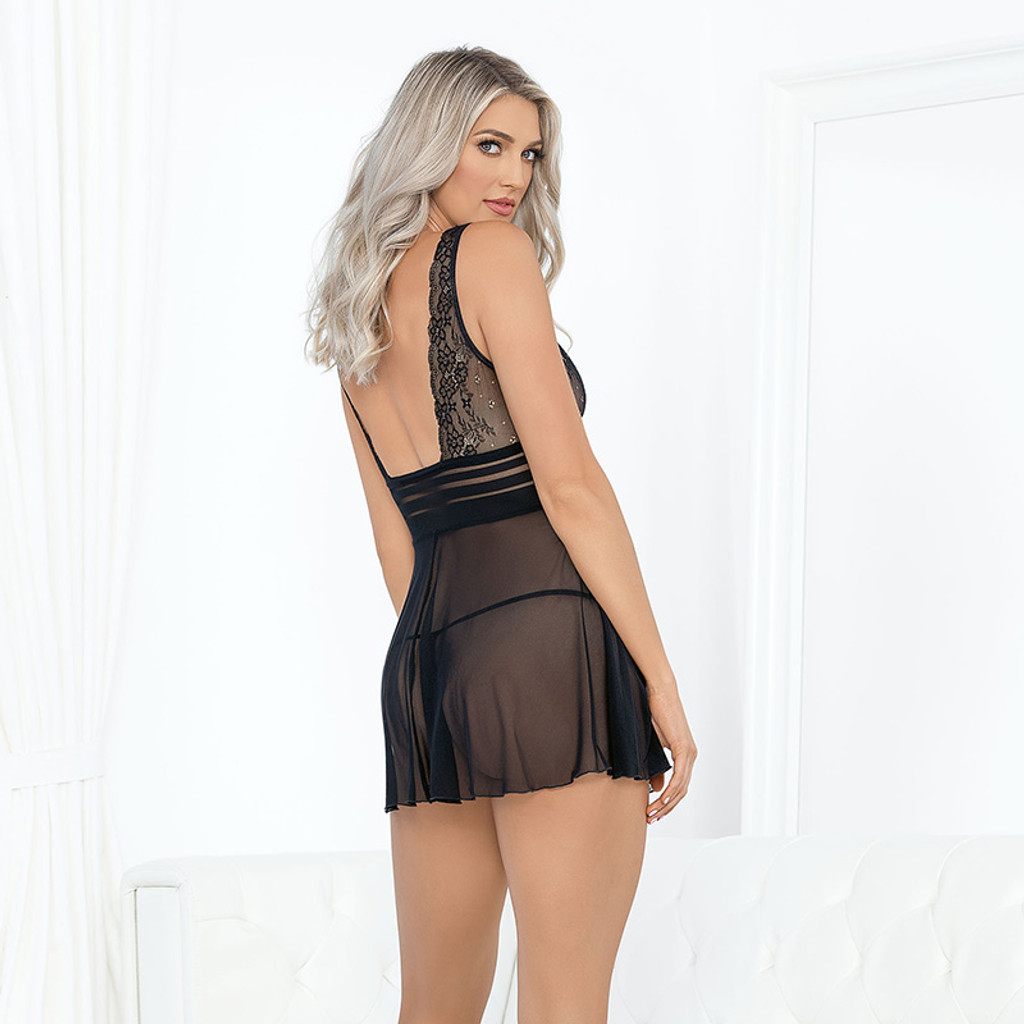 Black Escante Lace and Stripped Babydoll - Back