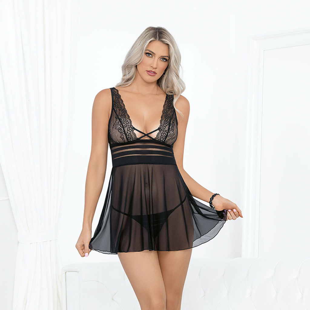 Black Escante Lace and Stripped Babydoll - Front