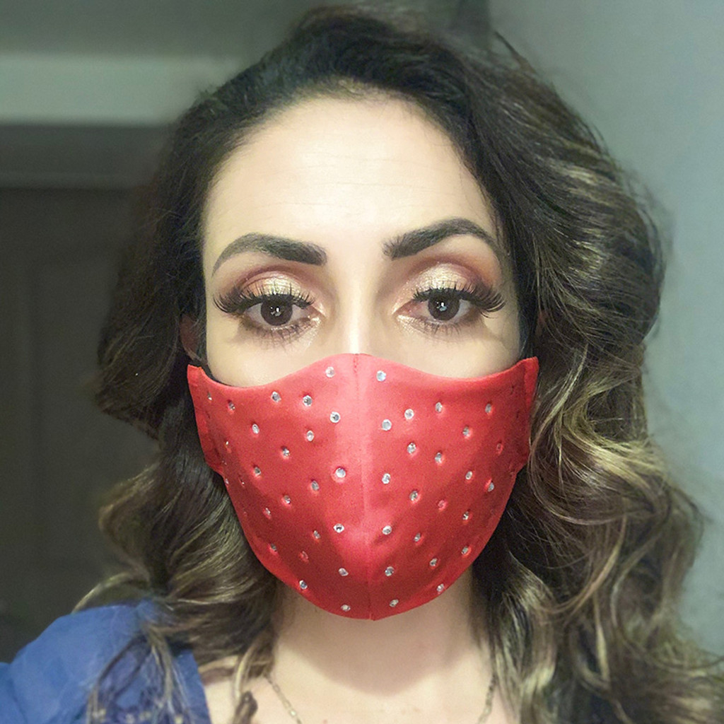 Red Just to Flirt Fashion Face Mask with Rhinestones