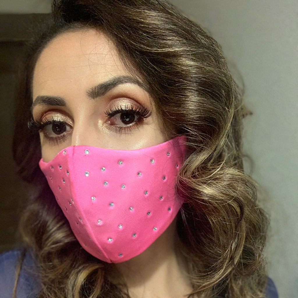 Pink Just to Flirt Fashion Face Mask with Rhinestones