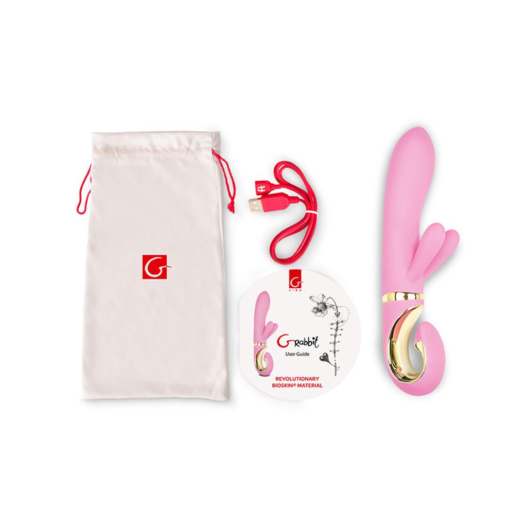 FT London Grabbit Bioskin Dual Rabbit Vibrator For Clit & G-Spot Stimulation - Contents