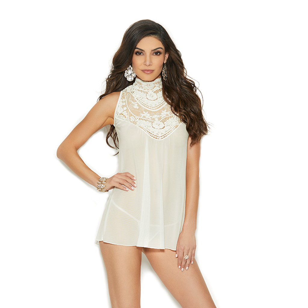 Elegant Moments Mesh Mock Neck Babydoll with Embroidered Detail - Front