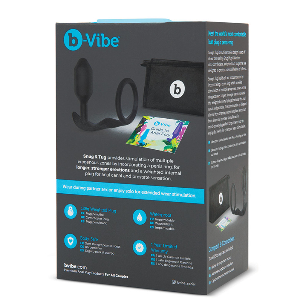 b-Vibe Snug & Tug  Penis Ring and Weighted Butt Plug - Packaging Back