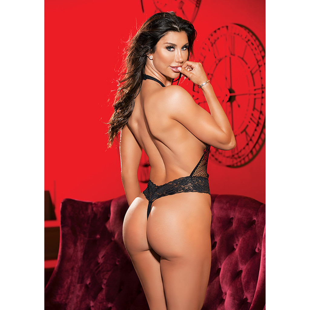 Black Shirley of Hollywood Stretch Fishnet and Lace Thong Teddy - Back