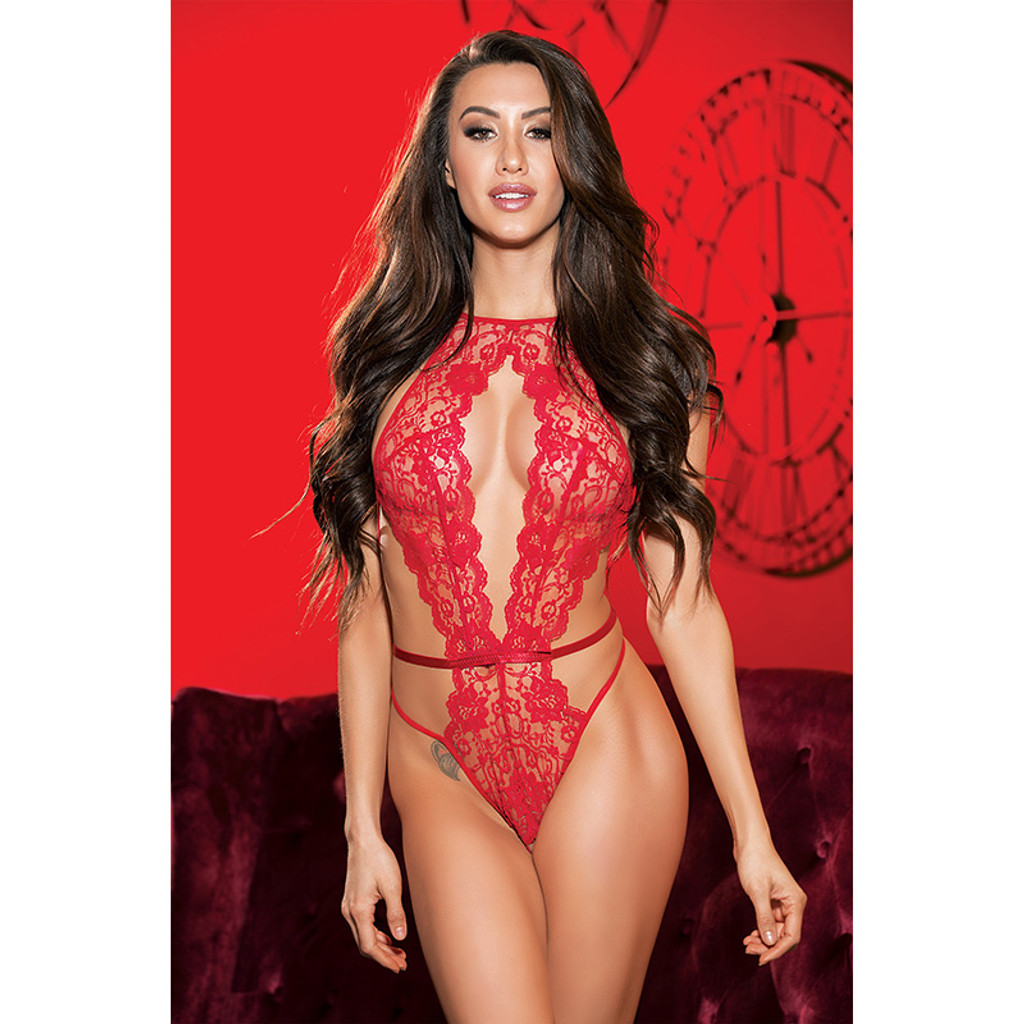 Red Shirley of Hollywood Lace and Strappy Elastic Open Front Teddy - Front