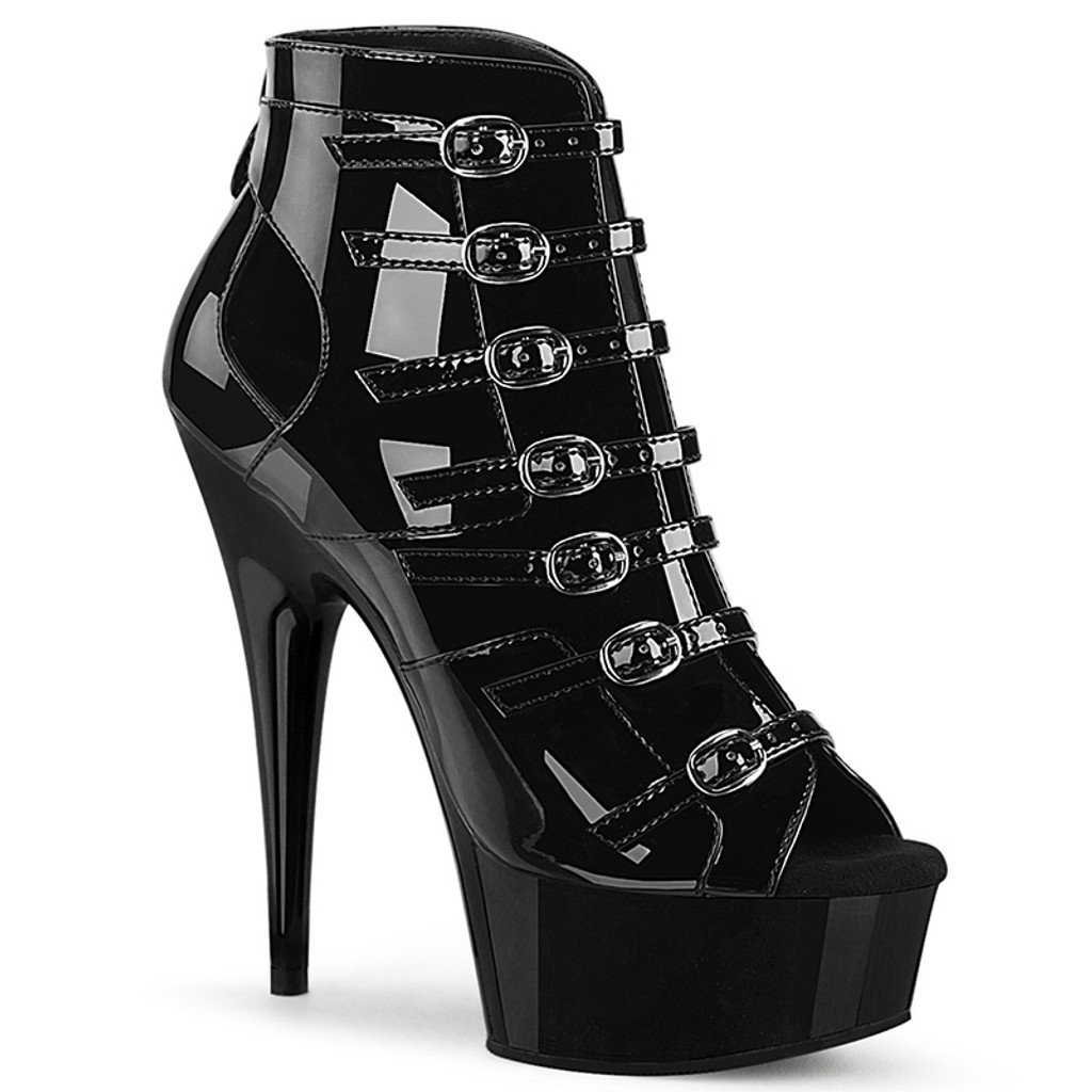 Platform Open Toe Open Front Ankle Bootie with Buckles and Cutout