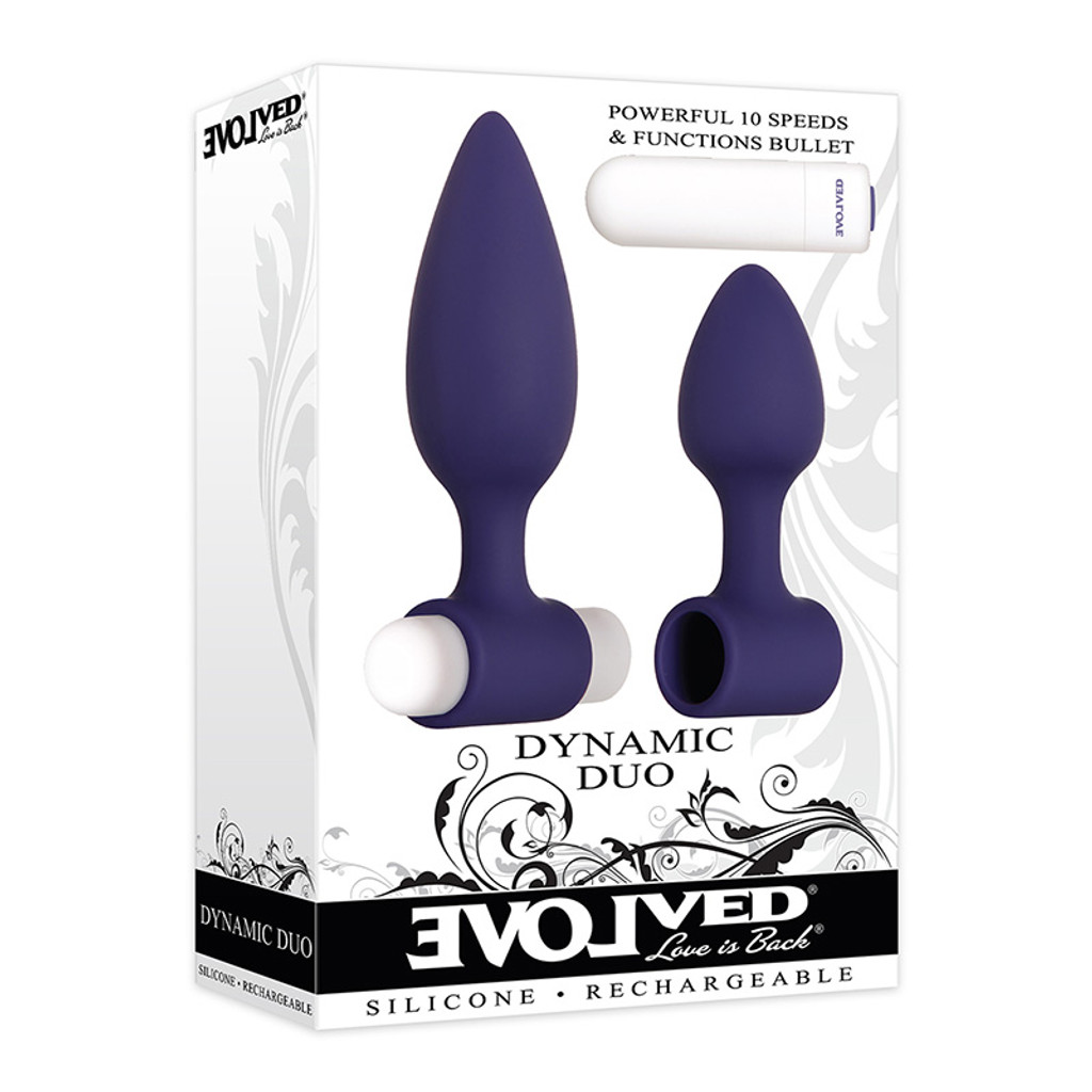 Evolved Novelties Dynamic Duo Vibrating Silicone Anal Plugs - 3D Box