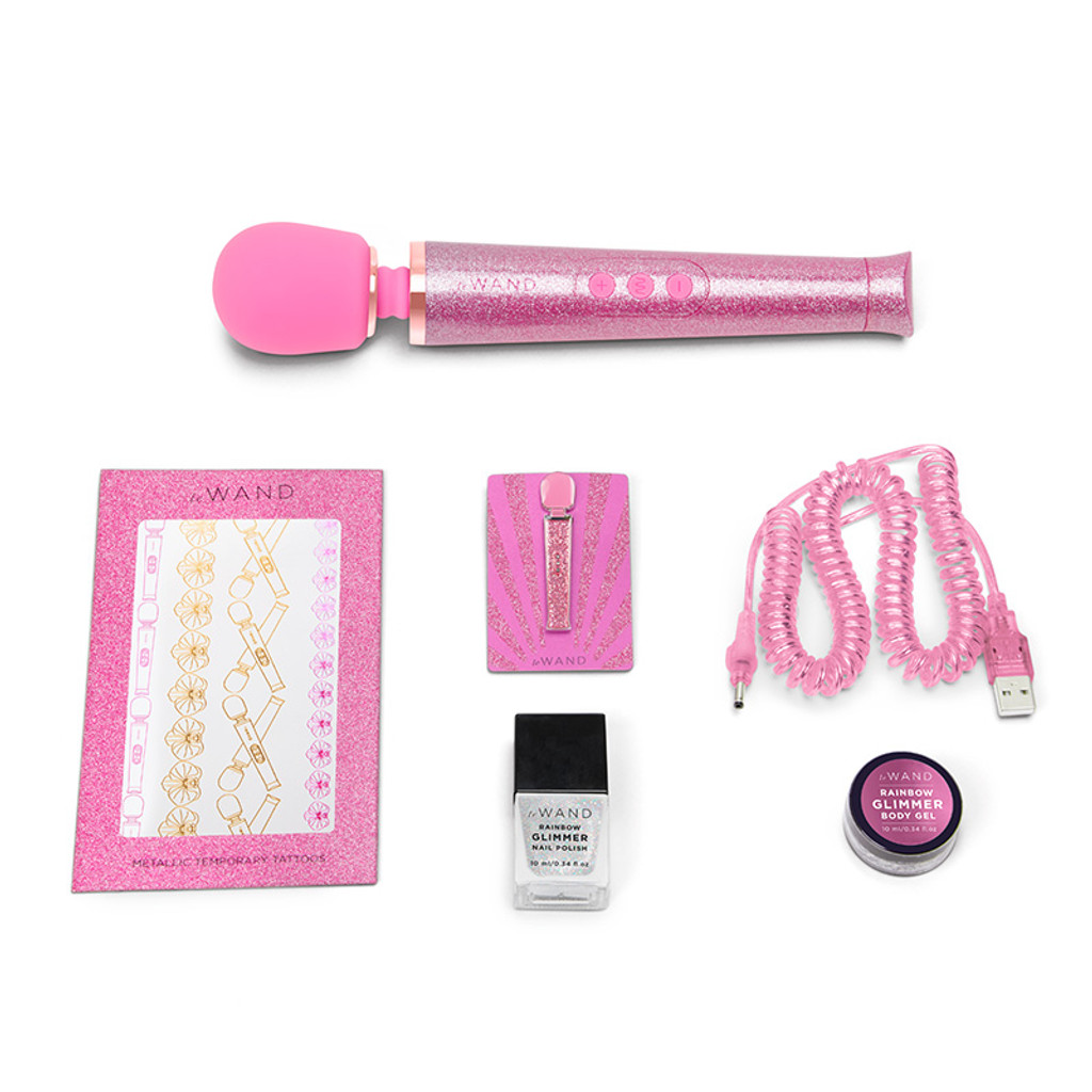 Pink Le Wand Special Edition: All That Glimmers Petite Rechargeable Wand Massager - Contents