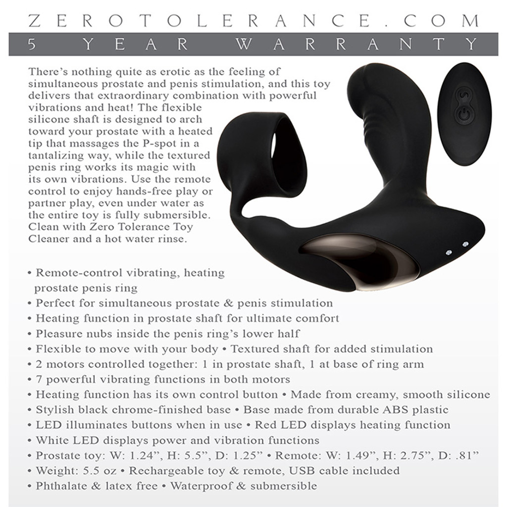 Zero Tolerance Strapped & Tapped Remote-Control Vibrating Prostate Stimulator & Cock Ring -Packaging Back
