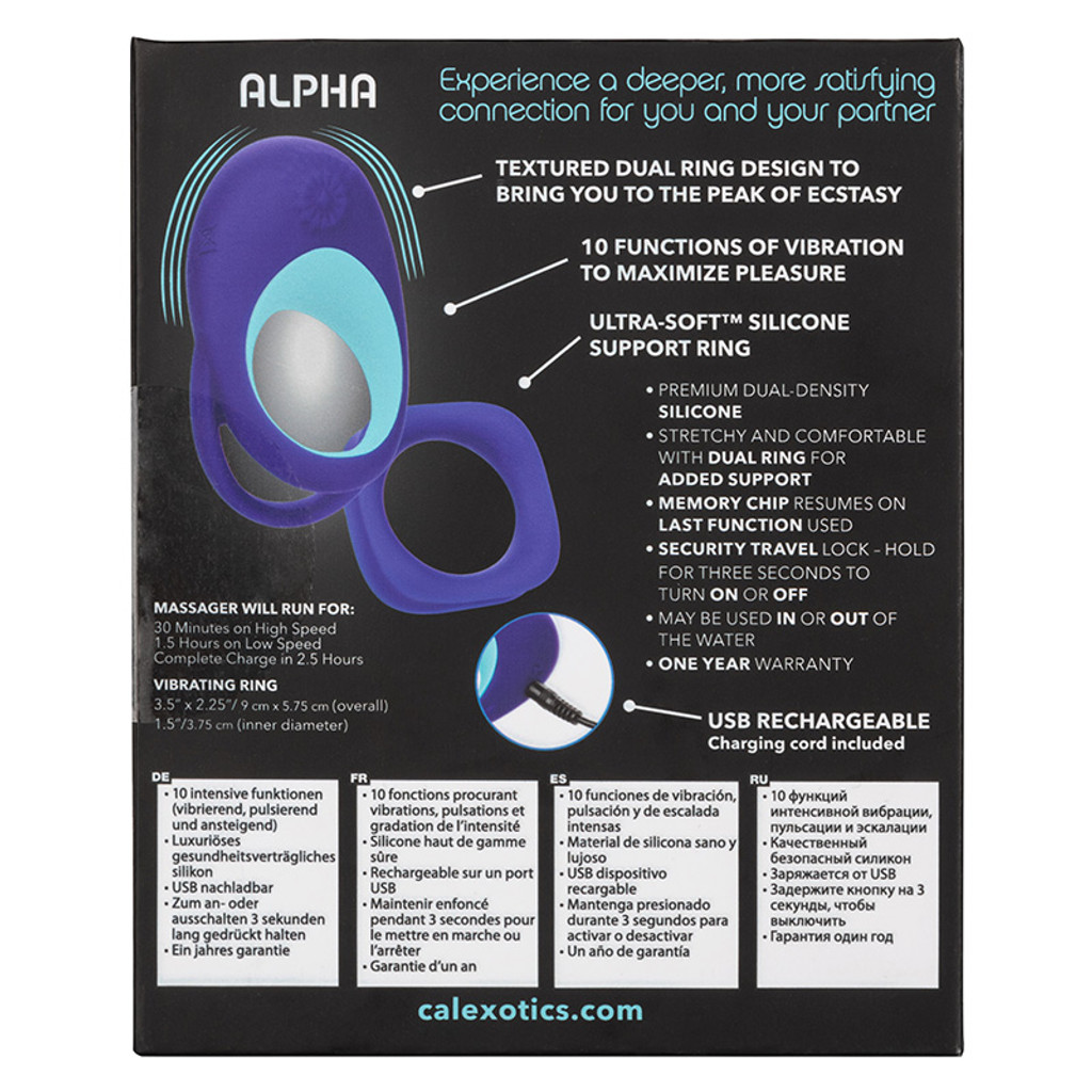 CalExotics Link Up Alpha Dual Vibrating Cock Ring - Packaging Back