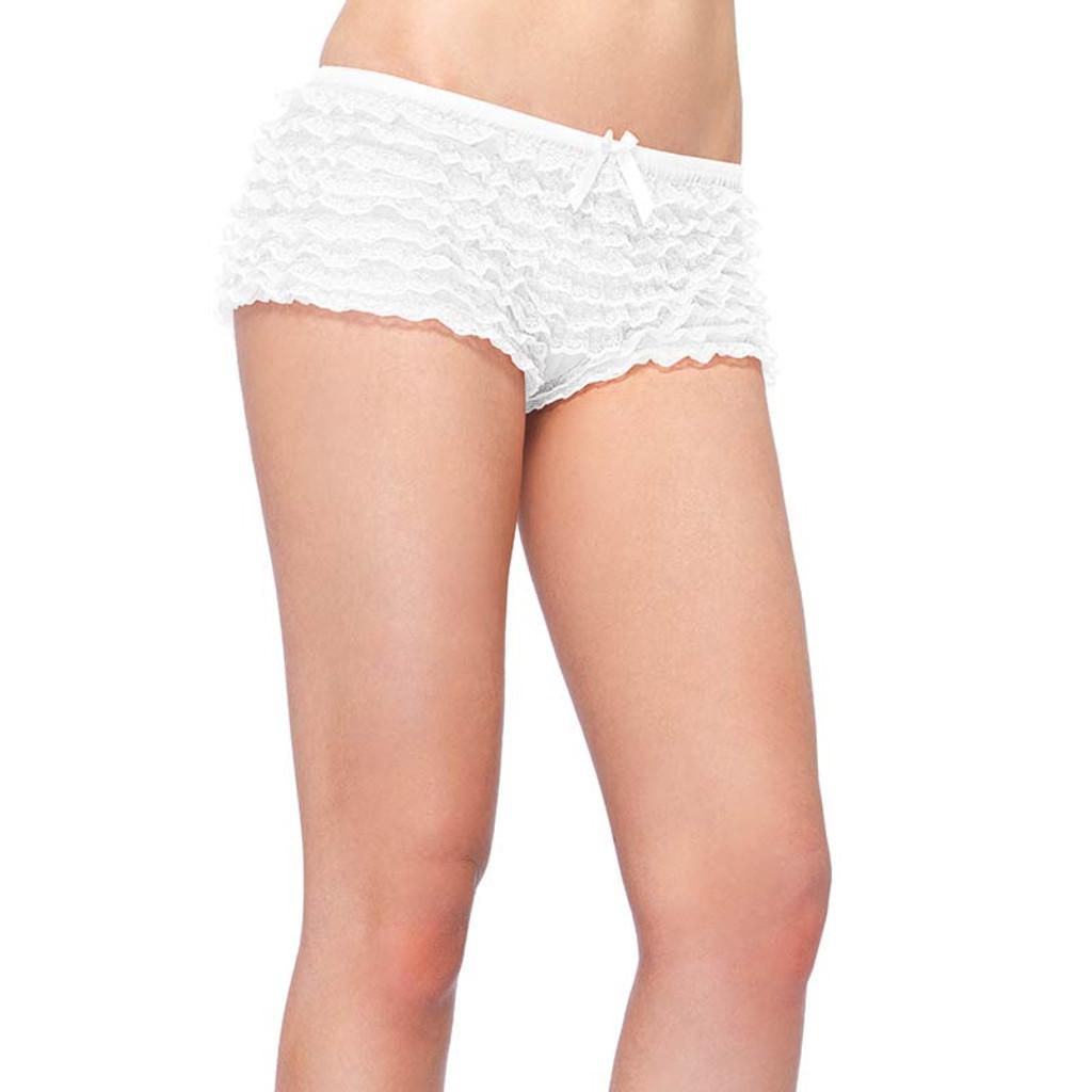 Micromesh Lace Ruffle Tanga Shorts - White